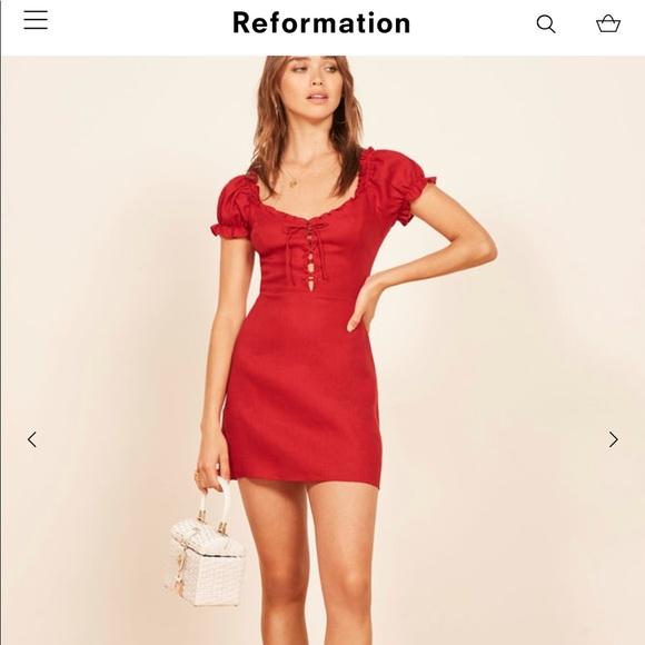 29599b5809 Reformation Klara Dress in Red